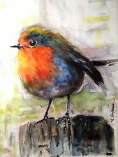 "A-685 Original/Print Watercolor Painting ""Red Robin"" Gift Idea Birds birthday"