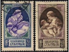 "FRANCE STAMP TIMBRE 1939 Y&T 440 / 441 "" LA NATALITE "" OBLITERES TB"