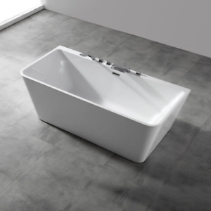 Acrylic Slim Bathtub 1500 1700 Back to Wall White Grey Steel Frame Square Small