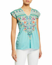 Johnny Was Mairorca Teal cotton embroidered Tee cap cleeve L