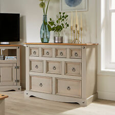 Grey Corona Chest of Drawers Pine Sideboard 9 Drawer Merchant Cabinet Seconds