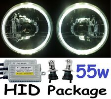 "WHITE 7"" Headlights Landrover Series 1 2 2A 3 Land Rover & H4 55w Hi/Lo HID Kit"