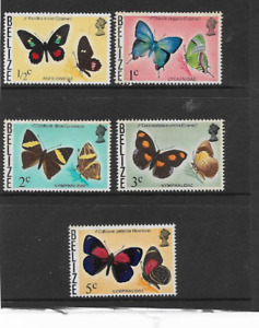 BELIZE ISSUE, SET OF 5 MINT HINGED DEFINITIVE STAMPS 1974, BUTTERFLIES OF BELIZE
