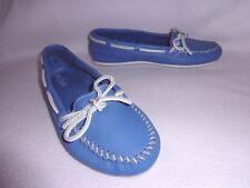MINNETONKA BLUE PEBBLED SOFT LEATHER WHIPSTITCH LACE SLIP-ON MOCCASINS SHOES--8