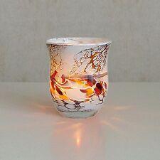 Windlicht Glas Dekoration Teelicht Weiß mit buntem unikatem Motiv