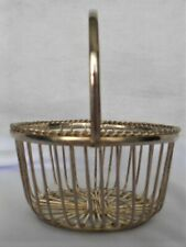Vintage 1920s Small Metal Basket w Handle~ Candy Container Christmas Ornament #3