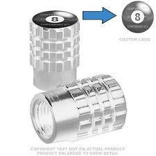 2 Silver Billet Aluminum Knurled Tire Valve Cap - 8 BALL - 015