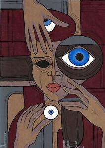 original drawing A4 106SO art samovar Surrealism Mixed Media female portrait