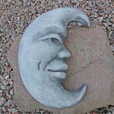 Steinfigur Mond Mondgesicht Frostfest Deko Steingesicht Grau Sonne Steinguss AA