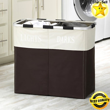 Laundry Hamper Bathroom Organizer Basket Dirty Clothes Sorter Two Section Bin