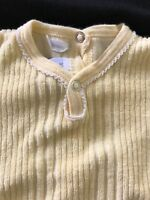 Petit Bateau Baby Girl Embroidered YellowTerrycloth Drop-Seat Footie - 3 Months