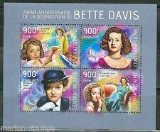 CENTRAL AFRICA 2014  25th MEMORIAL  OF BETTE DAVIS  SHEET MINT NH