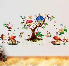 Wandtattoo Wandaufkleber Pilz Haus Mushroom Fee Baum Wandsticker Kinderzimmer