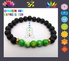 Bracelet 7 chakras pierre de lave Yoga Bouddha PERLE VERTE  CHAKRA DU COEUR  T10