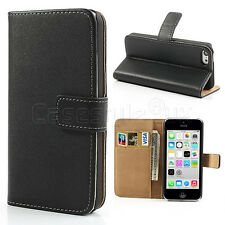 For iPhone 5S 5 5C Genuine Leather Wallet Flip Case Cover Card Slot Holder Stand