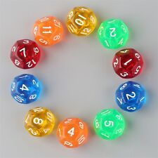 10pcs/Set Multicolor Transparent 12-Sided Role Playing Game Dices D12 New F7YA