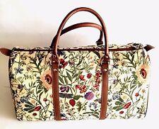Gobelin Blumen hell große Reisetasche Sommerblumen Stoff Tasche Weekender