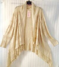NEW ~ Plus 24/3X SRPING Beige Cream Fringe Thin Knit Sweater Cardigan Duster Top