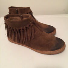 NEW! NWOB UGGS Women's Brown Distressed Leather Fringed Ankle Bootie size 7.5