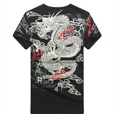 Herren Chinesischer Drache T-Shirt enge Passform kurzärmelig Rundhals Freizeit