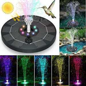 Solar Powered Water Fountain Power Floating Kit Garden Pond Pool Bird Led Colour