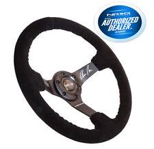 NRG Race Steering Wheel Black Suede Black Spokes Black Stitching ODI RST-036MB-S