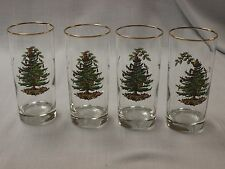 Spode CHRISTMAS TREE lot 4 glasses tumblers coolers iced tea beverage highball