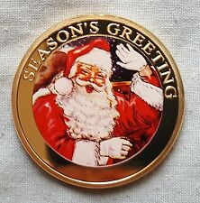 Or Joyeux Noël Santa Claus Pièce De Noël Carte Cadeau Seaons Greetings UK