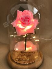Beauty and the Beast Enchanted Rose ((PINK))*Personalised Wood Engraving* GIFT