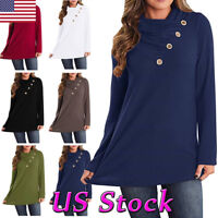 Women Long Sleeve Turtleneck Tunic Top Button Casual Loose T Shirt Solid Blouse