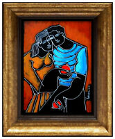 Yuri Yuroz Original Painting Oil Painting On Board Modern Cubism Portrait Art