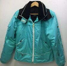 Nils Women's Teal Coat Ski Jacket Hooded Winter Black Collar Size 8