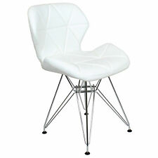 REBOXED 2x Charles Jacobs Dining Office Chair Chrome Metal Leg Pair White New