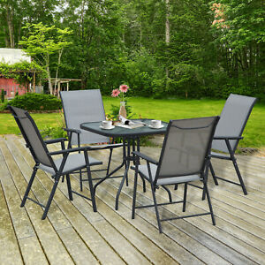 Garden 5pcs Classic Outdoor Dining Set Steel Frames w/ 4 Chairs Coffee Table