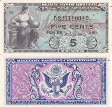Military Payment Certificate Series 481 5 Cent Korea Era 1951-54 Uncirculated