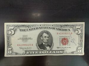 Series 1963 $5 RED SEAL Legal Tender US NOTE AA BLOCK Bill Old US Paper Money..!