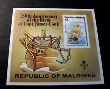 Souvenir Sheet  Maldive   Stamp Scott# 757 Capt. Cook 1978 (Imperf)  MNH C505