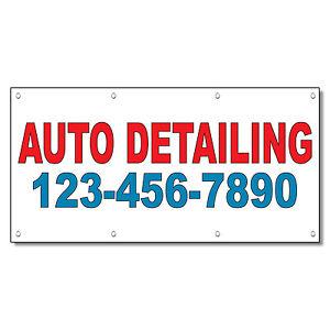 Auto Detailing 123-256-87890 Custom Red Auto Car Repair Shop Vinyl Banner Sign