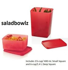 TUPPERWARE New FREEZE-IT SMALL AND DEEP SET of 2 CONTAINERS in RED fREEsHIP!