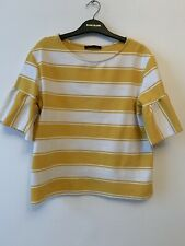 M&S Size 12 Yellow White Stripe Top Blouse Tshirt Peplum Bell Sleeves