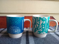 SET OF TWO Starbucks Stackable Pom Pom Abstract Blue Teal Coffee Mugs
