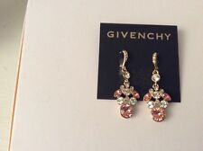 $52  Givenchy  GOLD TONE CLEAR AND PEACH CRYSTAL DROP EARRINGS  108 D GE