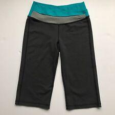 LULULEMON Charcoal GROOVE Crop Pants ASTRO Waist Teal Gray Sz4 Luon Yoga Cardio