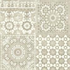 Grandeco Wallpaper - Luxury Botanical Moroccan Tile Pattern - Cream - BA2501