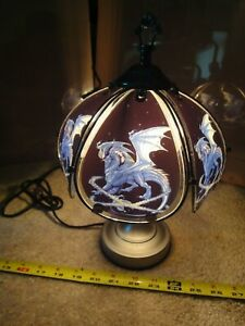 Mythical glass Dragon, desk, table lamp. Touch operated night light. Nice!
