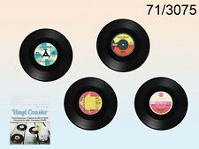 Set of 4 Vintage Vinyl Coasters Record Tableware Bar Drinks Cup Placemat