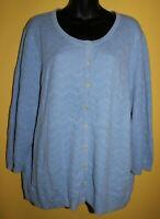 Talbots Woman 3x Baby Blue Pointelle Knit 3/4 Sleeve Cardigan Sweater