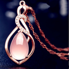 Pink Dovetail Moonstone Pendant Rose Gold 925 silver Necklace Jewellery gifts UK