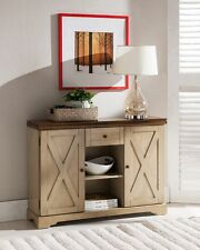 Kings Brand Antique White / Walnut Finish Wood Buffet Cabinet Console Table ~New