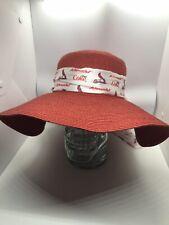 Red Paper/Straw Sun Hat w St. Louis Cardinals Band Sponsored Coke & Schnucks